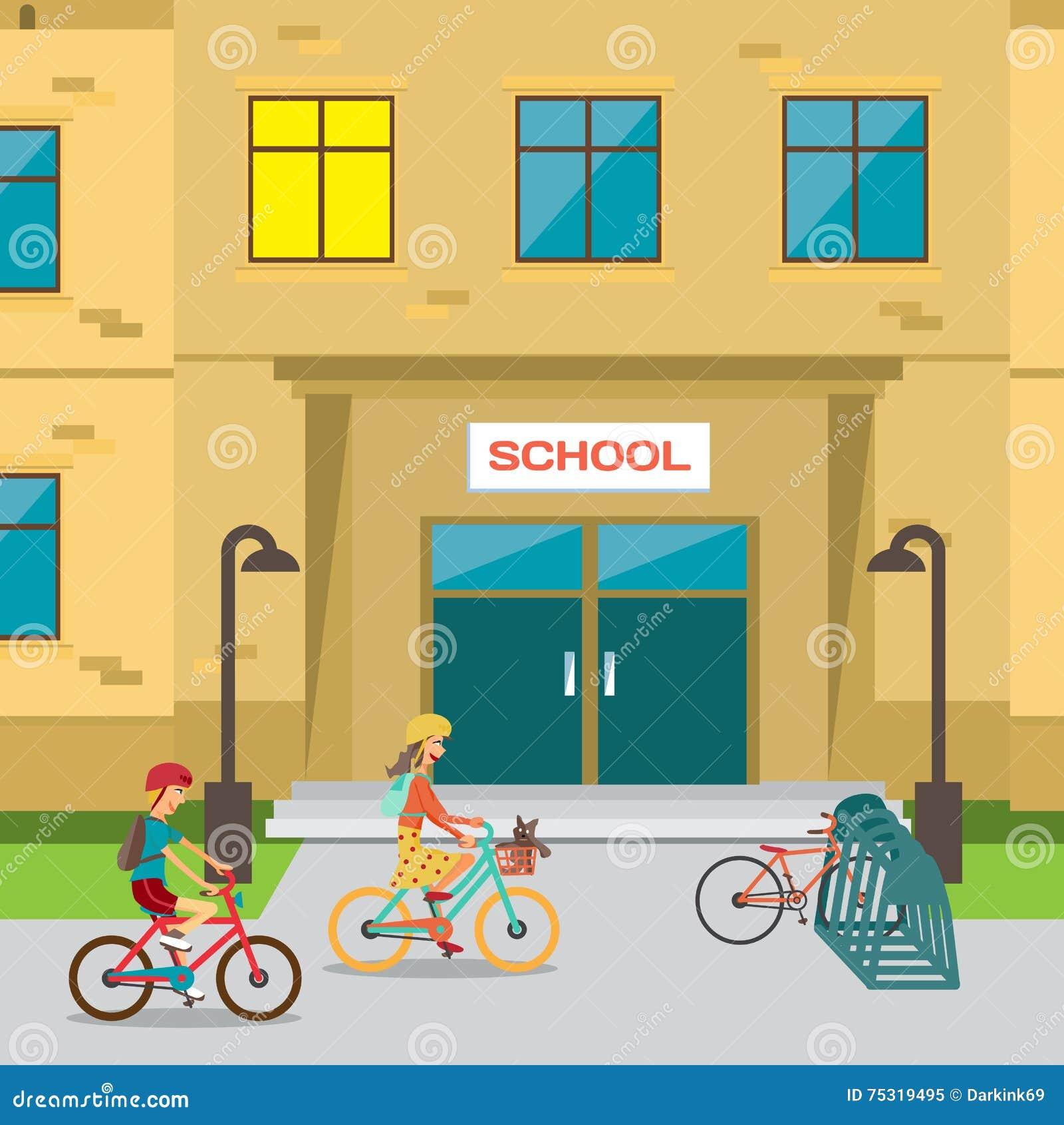 Children S Bicycle Parking Near The School Stock Vector