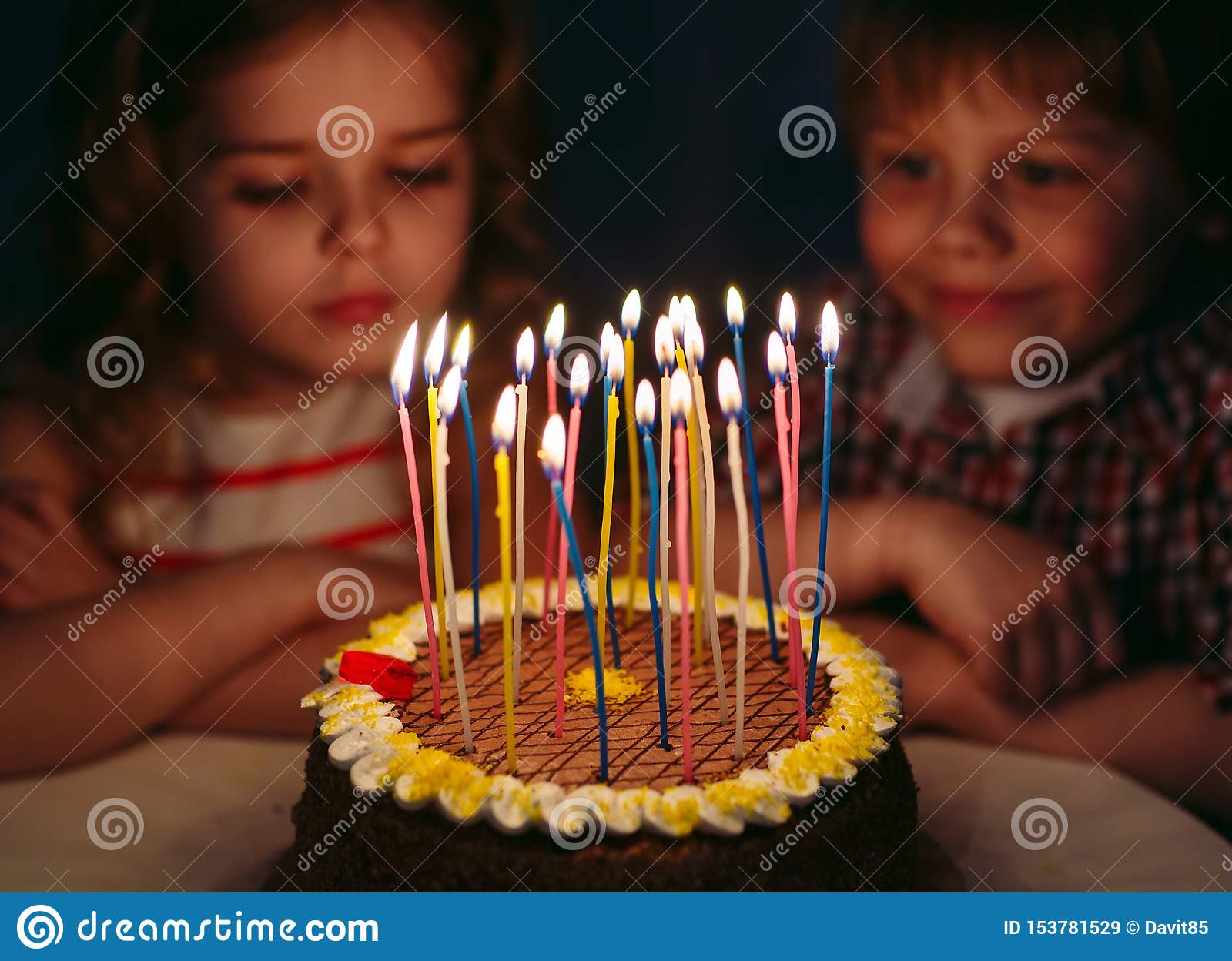 Children`s Birthday. Children Near A Birthday Cake With ...