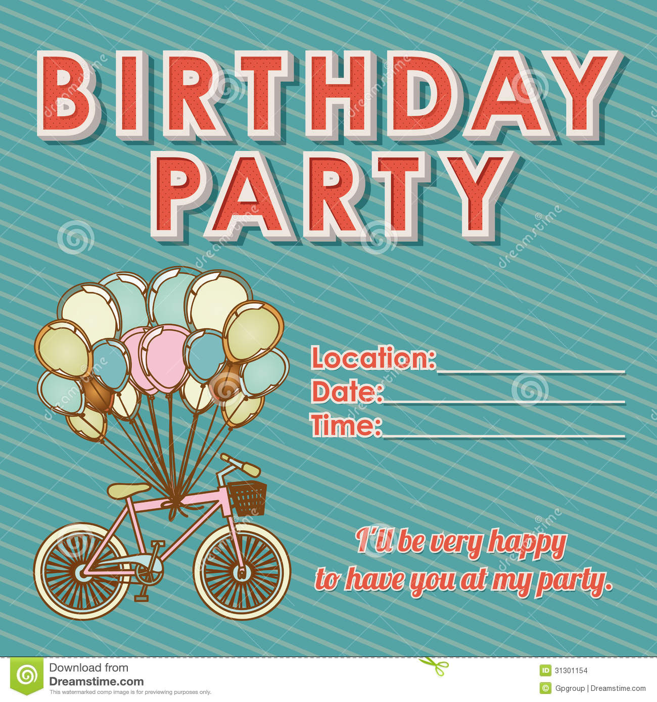 Childrens Birthday Invitation Stock Vector Illustration of bike