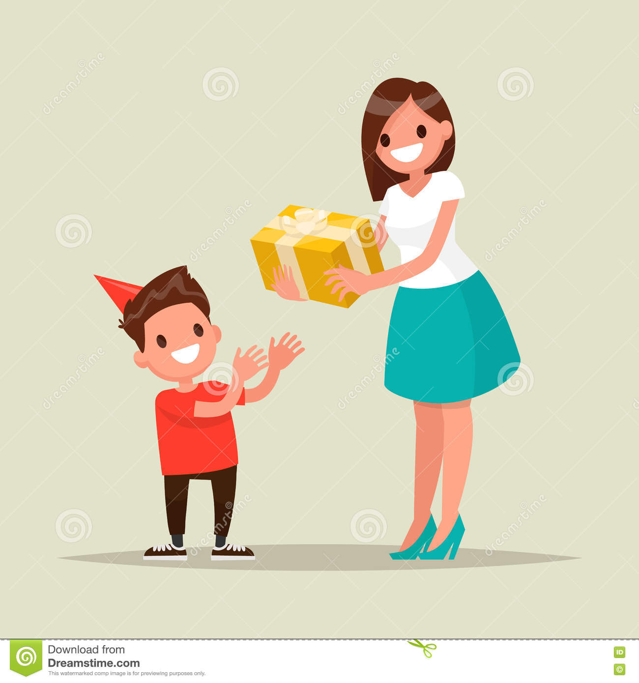 Children S Birthday Mom Gives Son A Present Vector Il