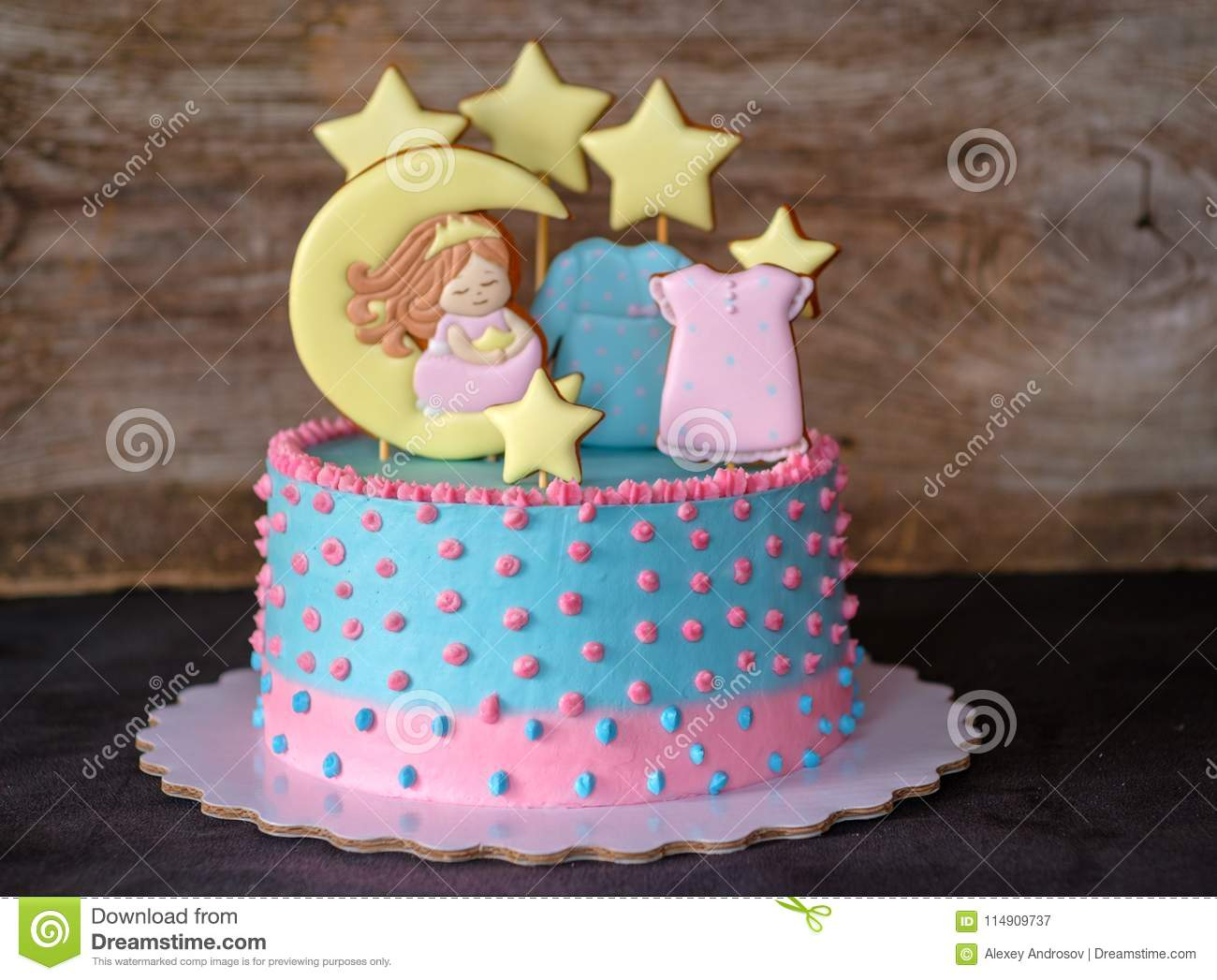 Childrens Cake In The Style Of A Pajama Party Stock Image Image