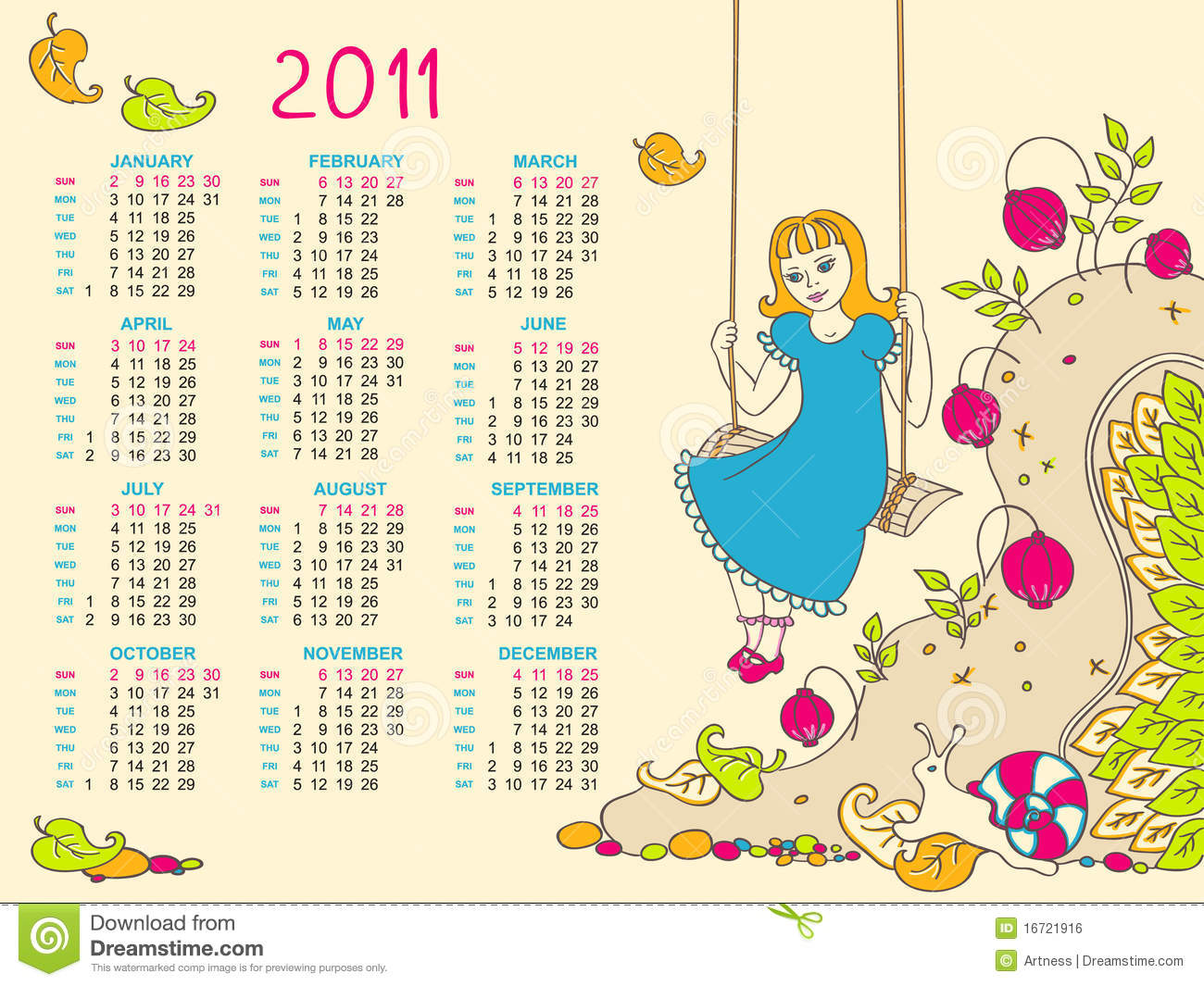 Children S Calendar For 2011 Stock Vector Illustration Of Artwork