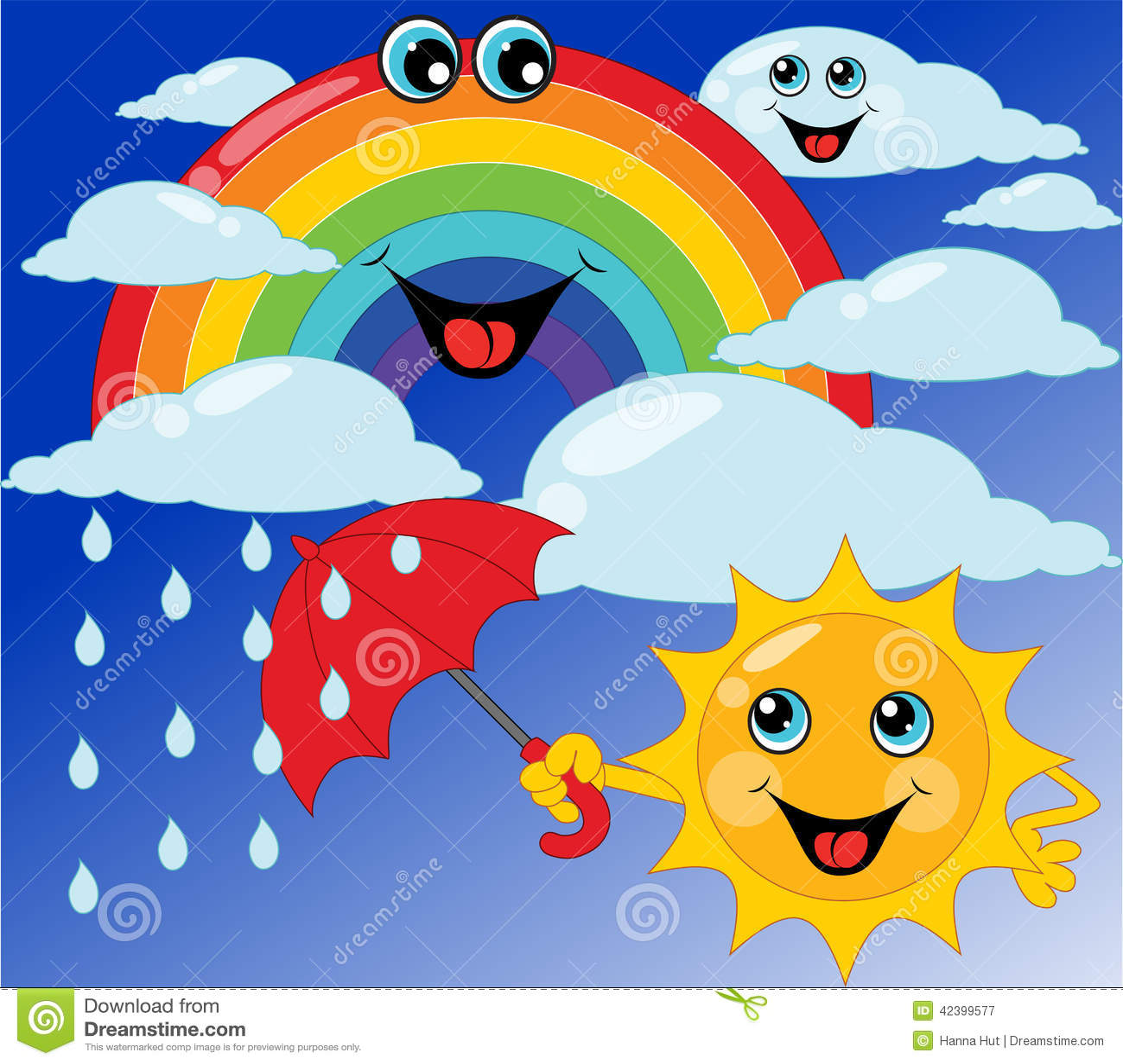 More similar stock images of ` Children s card sun, rainbow, umbrella