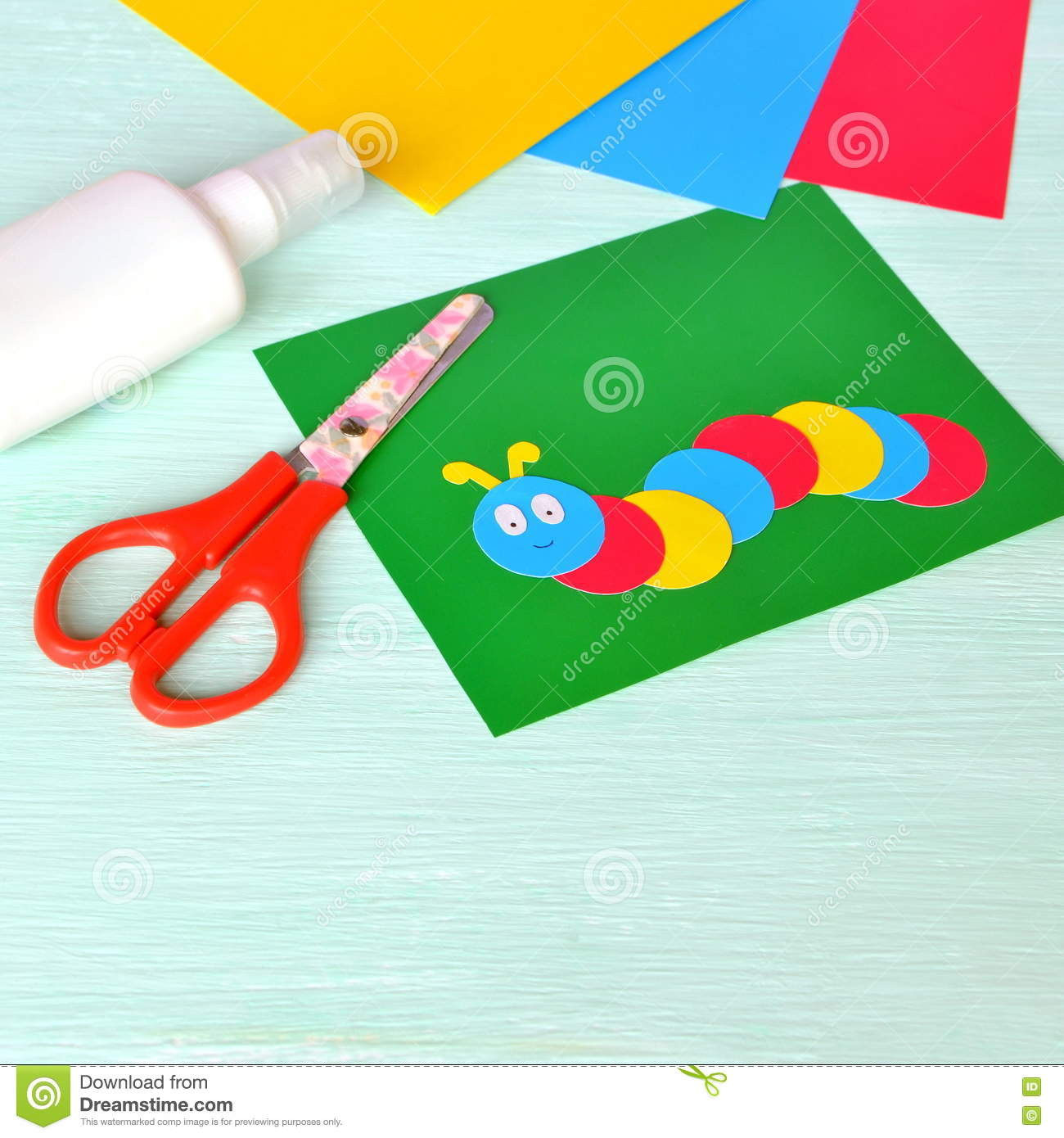 Children\'s Cardboard Crafts - Colored Caterpillar On A Green Paper ...