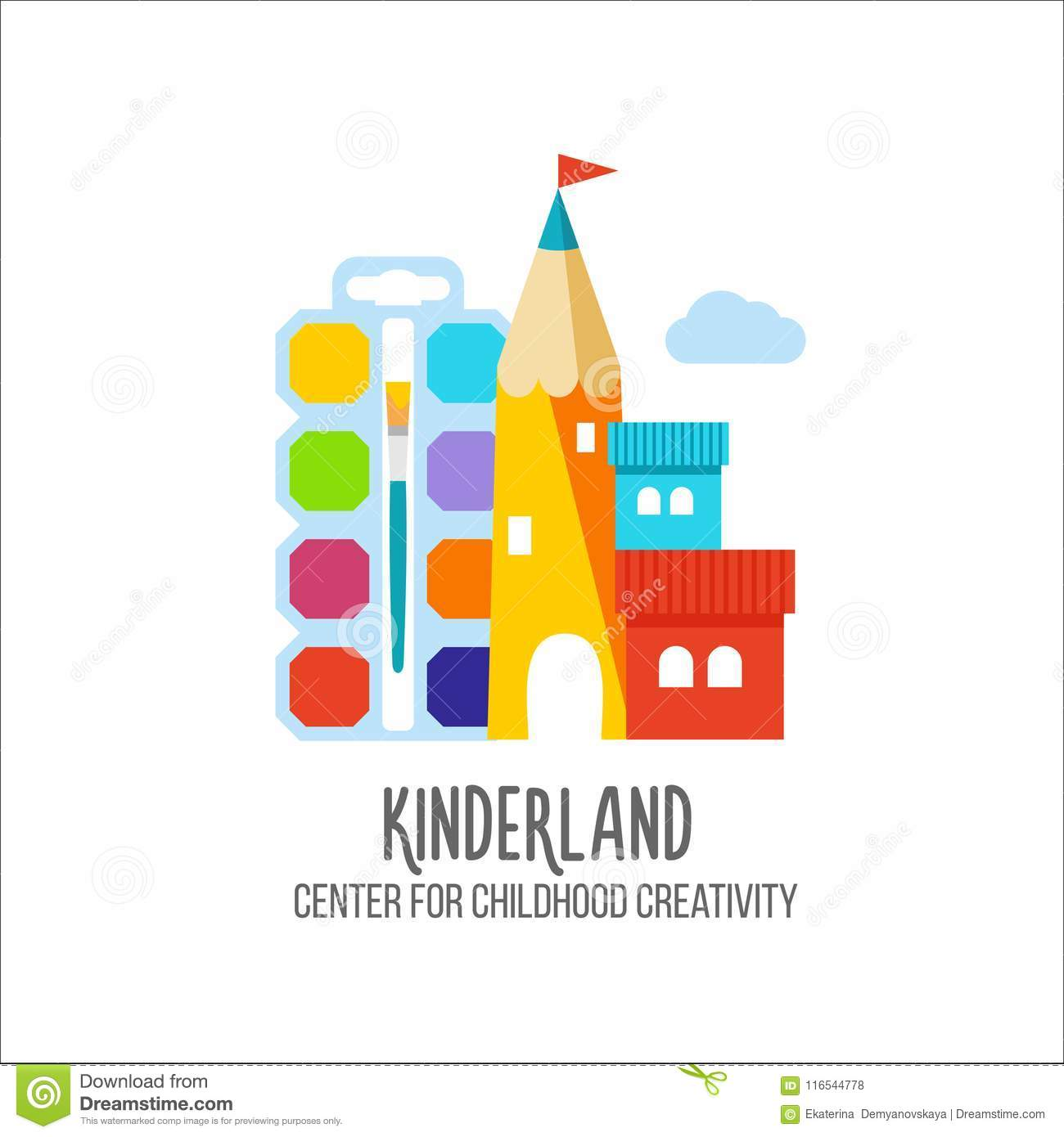 logo for kids club kinder garden education or child development emblem shop or store sign vector illustration - Kinder Garden