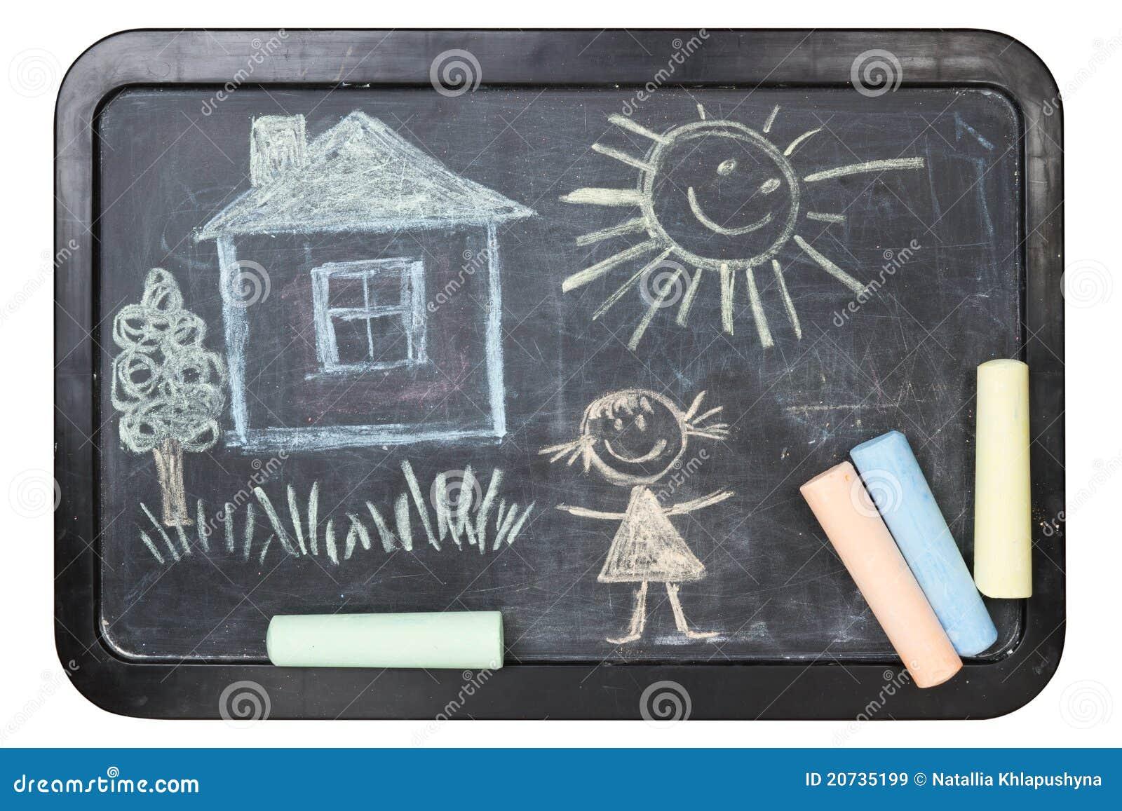 Children S Chalk Drawing On School Board Royalty Free