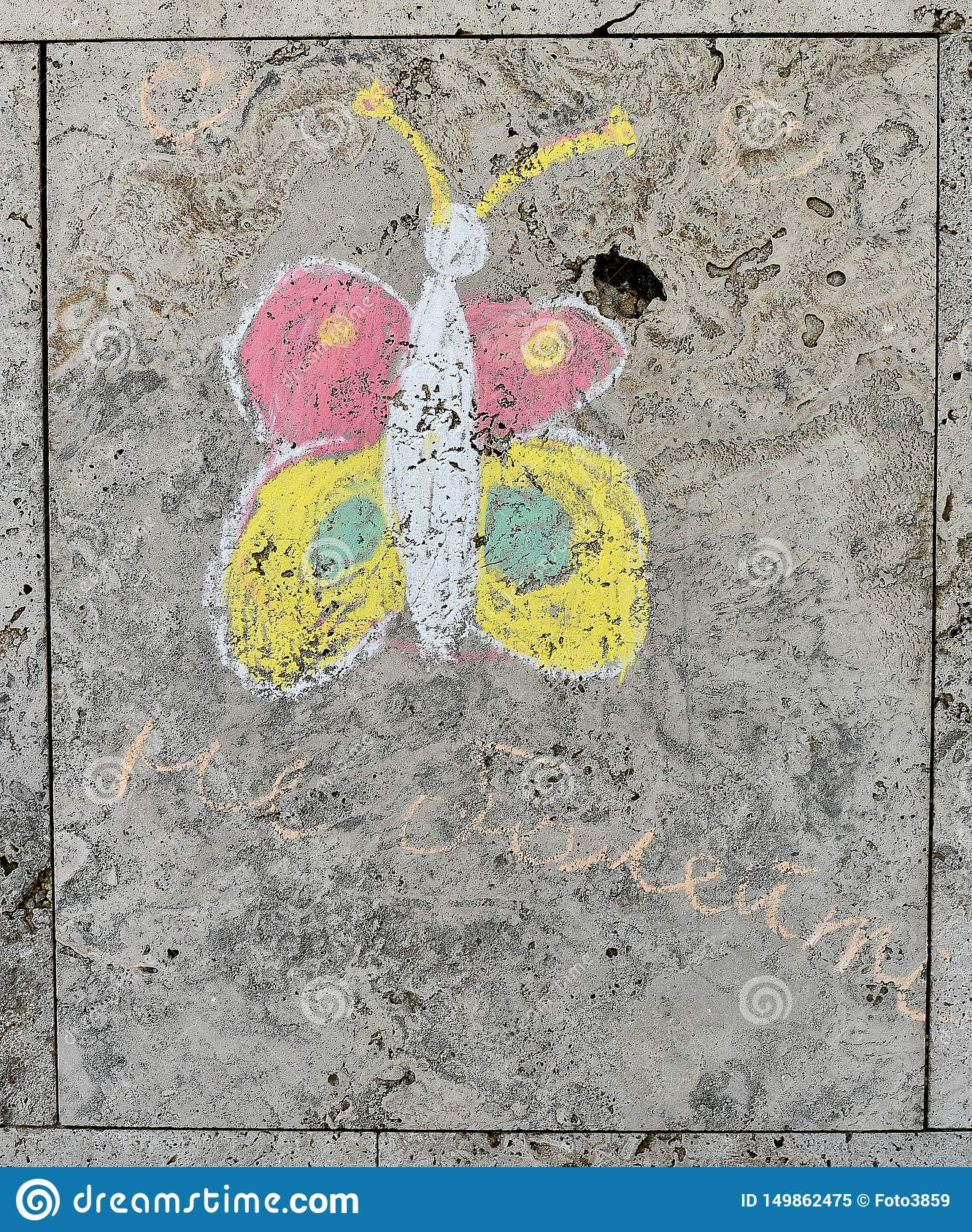 Children`s chalk drawing on a textured wall