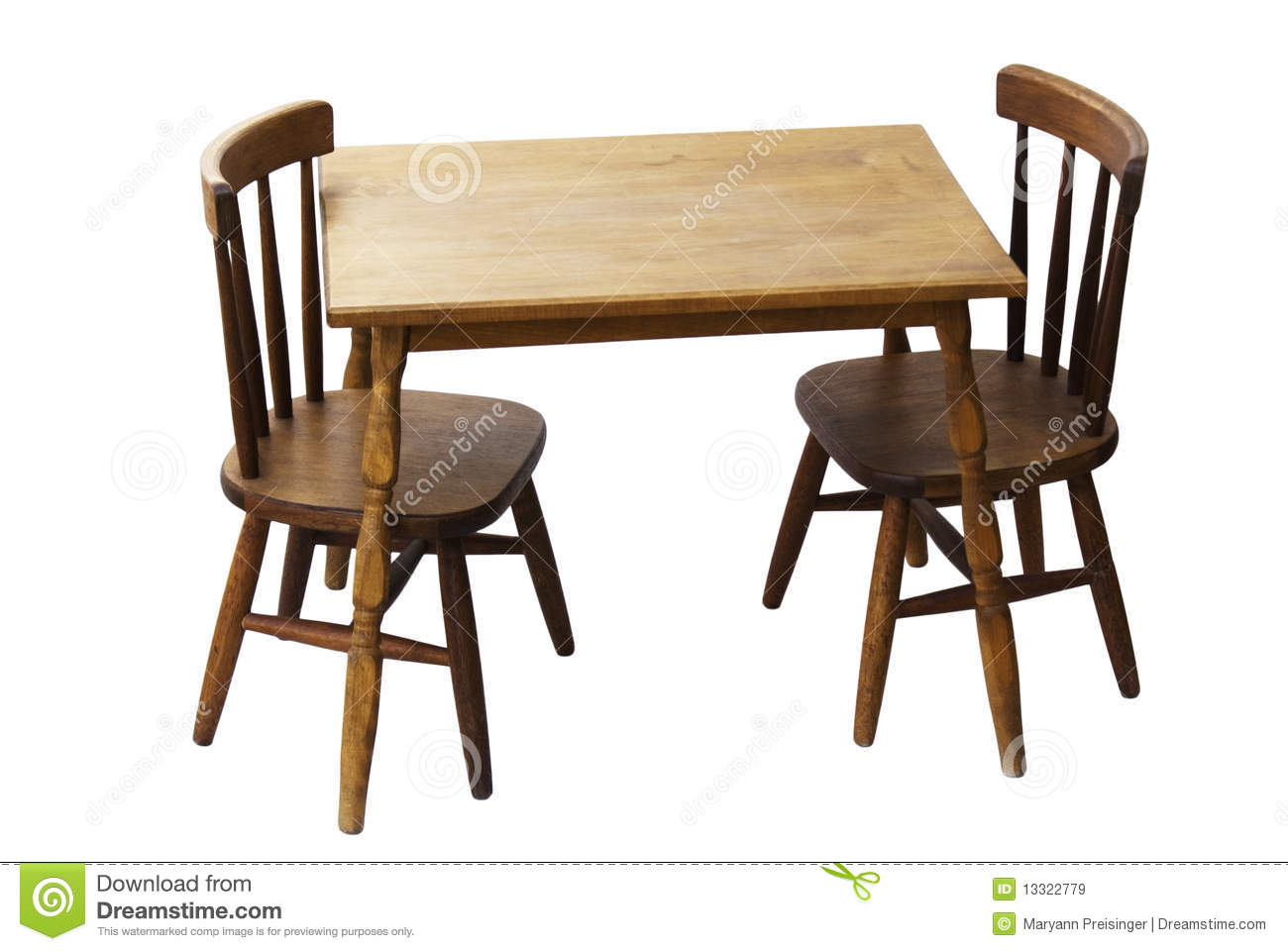 Children S Child Wood Table And Chairs Isolated Stock
