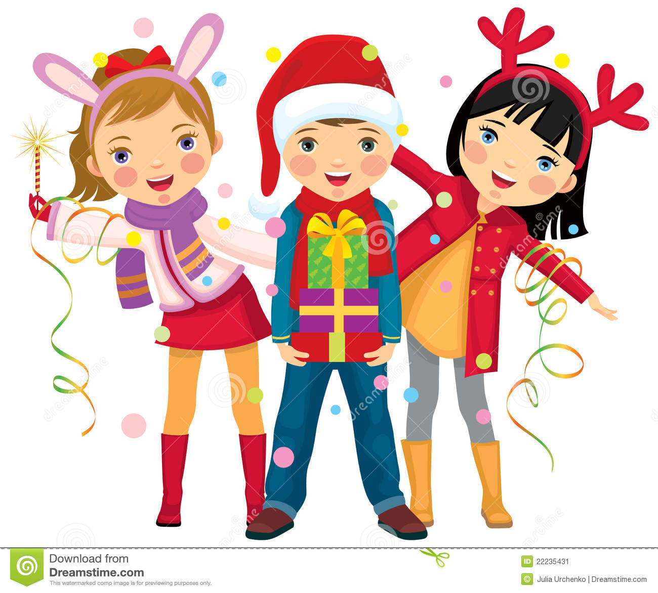 Children\'s Christmas Party A Surprise Stock Vector - Illustration of ...