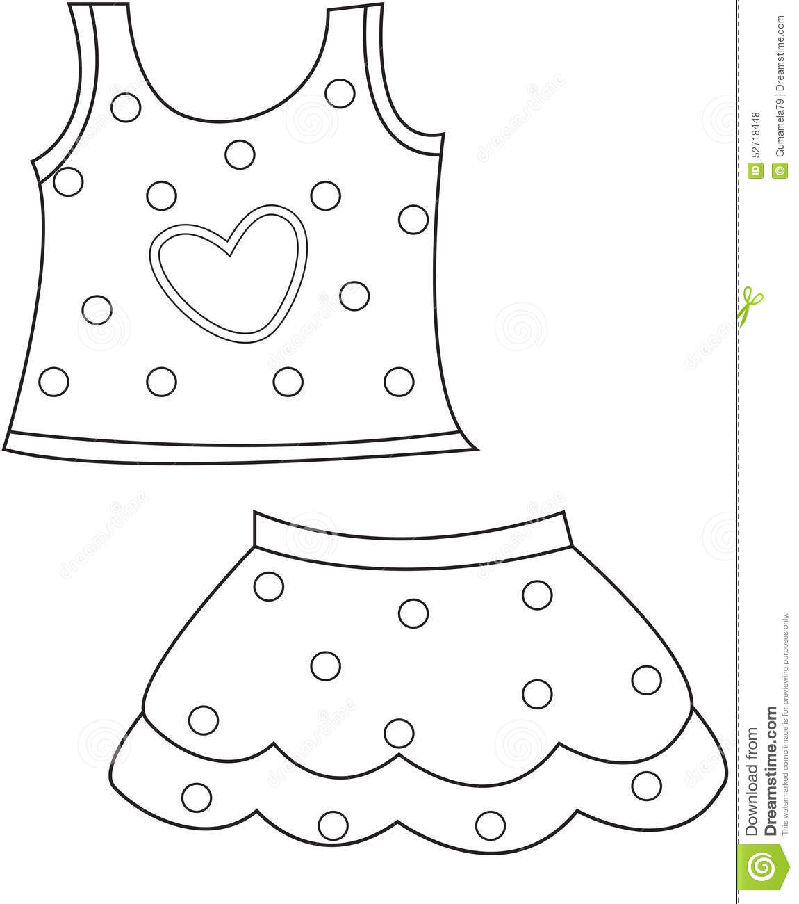 children u0027s clothing coloring page stock illustration image 52718448