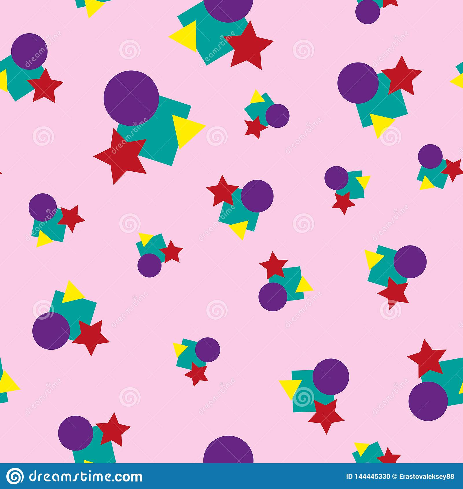 Children`s colorful geometric seamless pattern. Colour vector illustration.