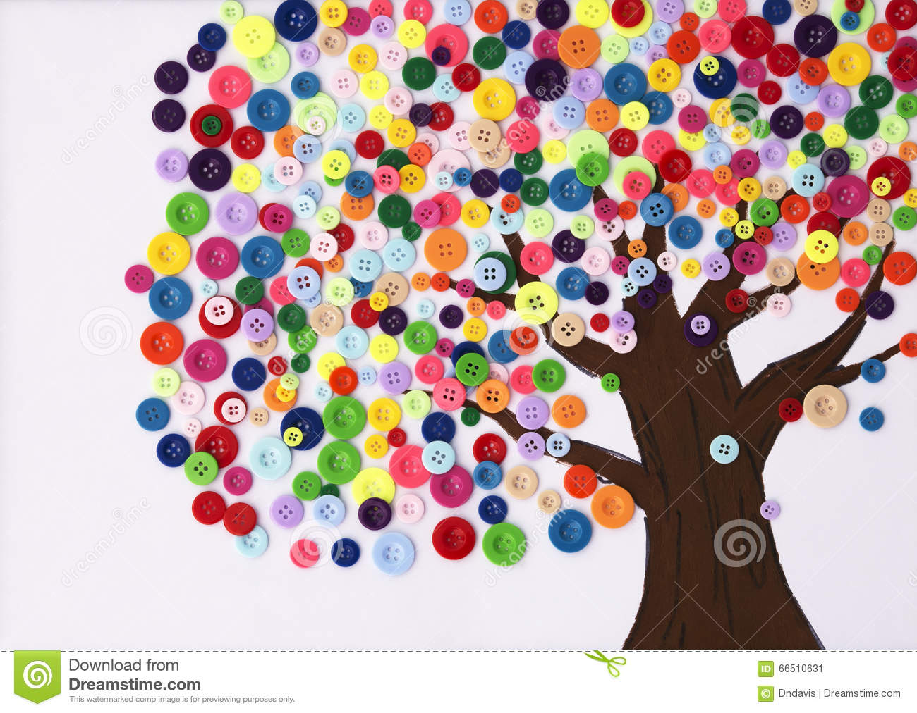 Children 39 s craft of a tree made of buttons stock image - Bastelideen herbst kinder ...
