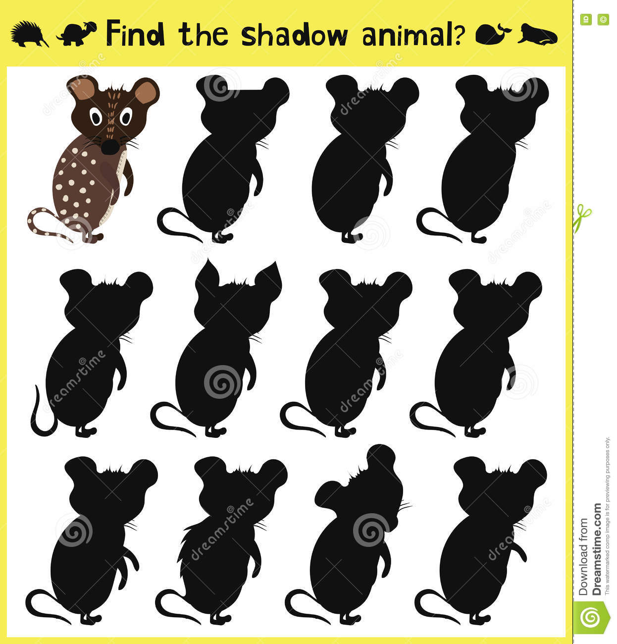 children u0027s developing game to find an appropriate shadow animal