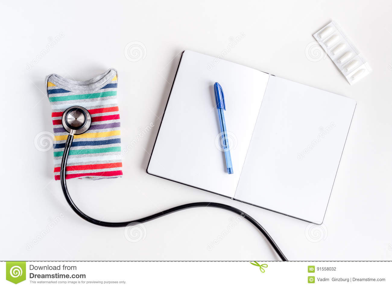 Children`s Doctor Work With Stethoscope And Notebook White ...