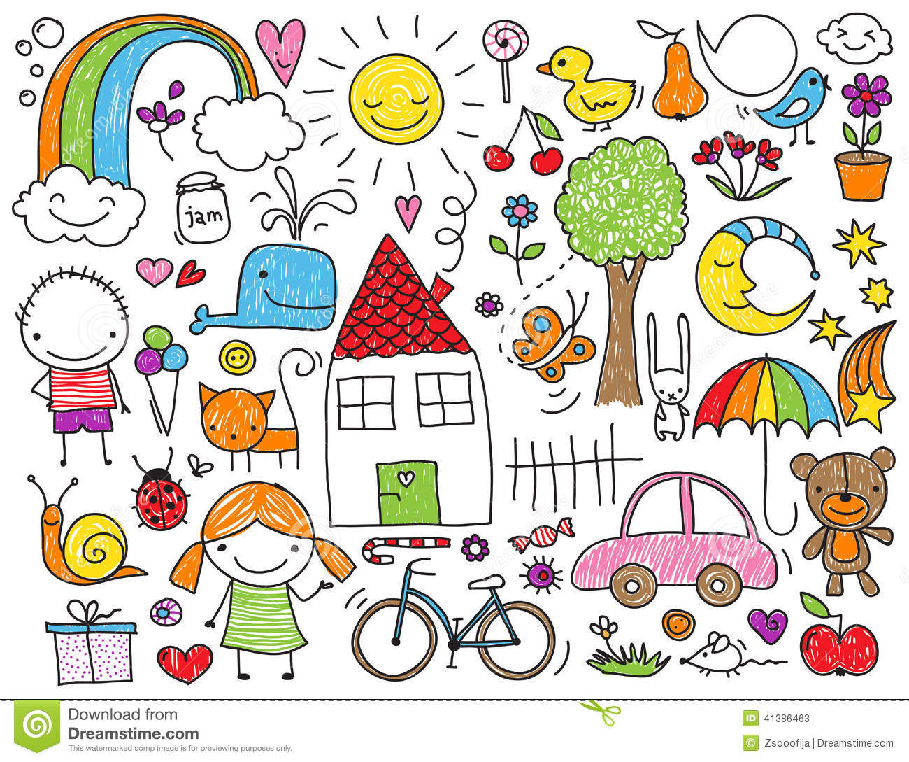 Children S Scribble Drawing : Children s doodle stock illustration image