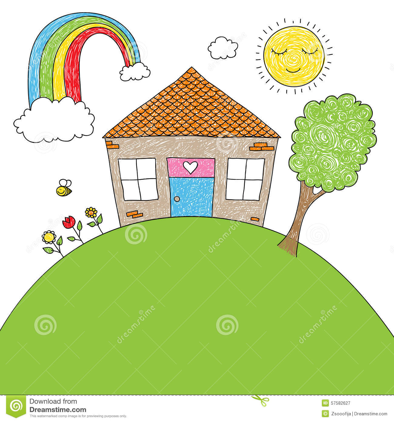 Children 39 S Doodle House Stock Vector Illustration Of
