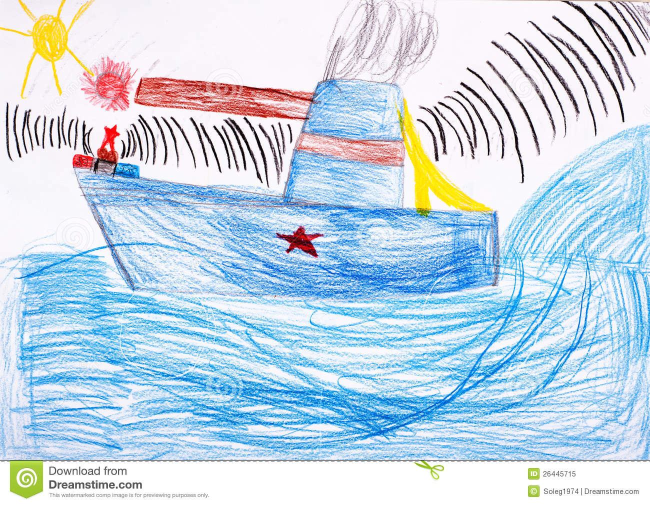 Childrens Drawing Battleship At Sea Royalty Free Stock