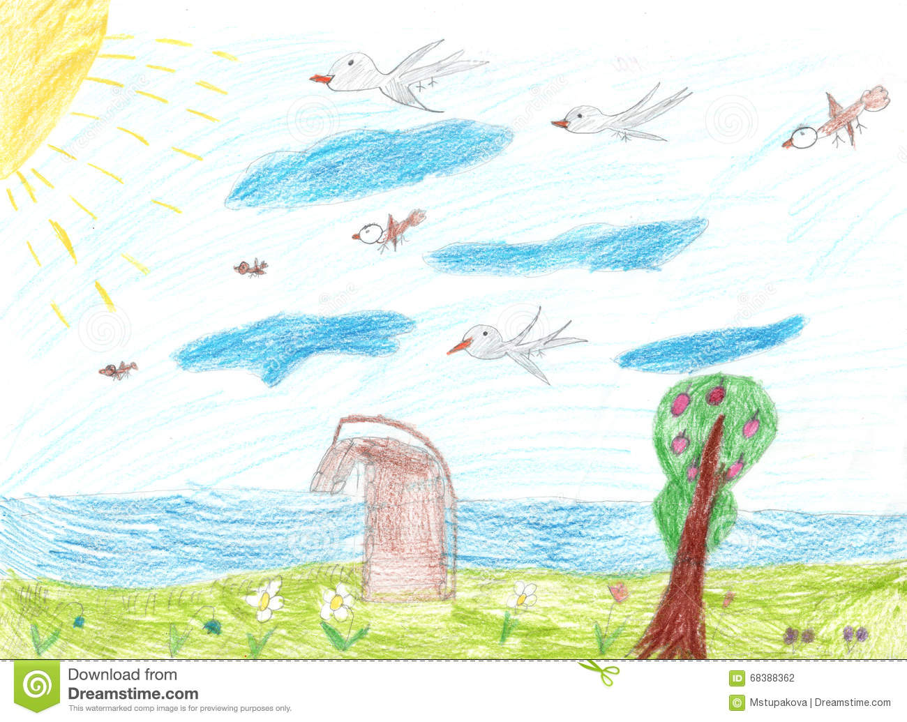 childrens drawing bridge over the river birds flying in