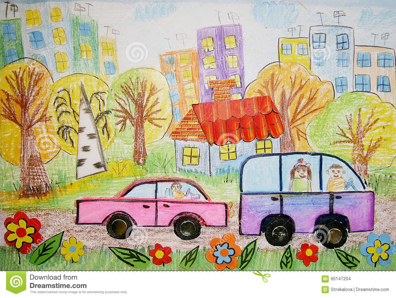 Children S Drawing Of The Bus And Car Stock Illustration