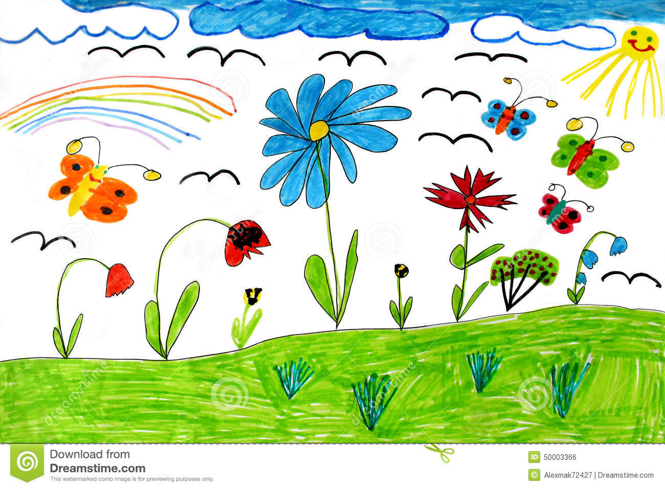 children u0027s drawing with butterflies and flowers stock illustration