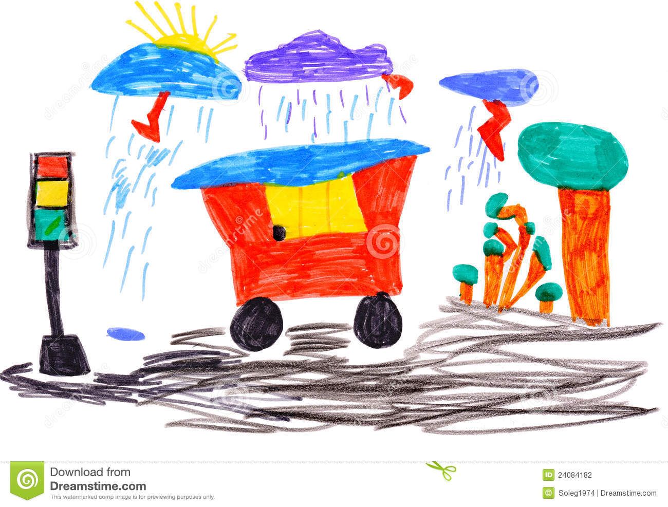 Children S Drawing Car And Traffic Light Stock Illustration