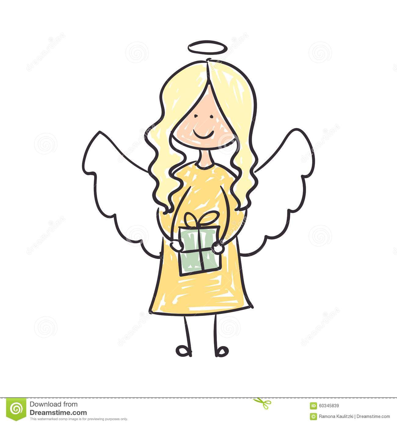 download childrens drawing of an christmas angel stock illustration illustration of gift cute - A Christmas Angel