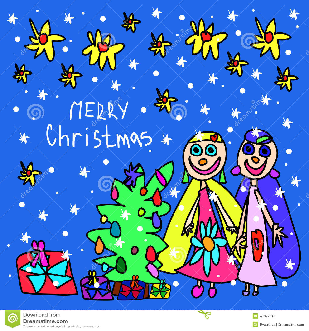 Children's Drawing. Christmas Card Stock Illustration - Image ...