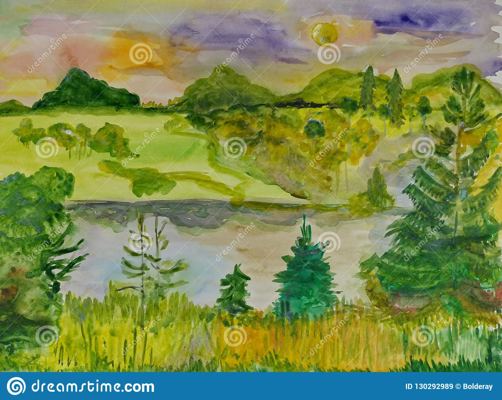 Children`s Drawing `Forest Lake In Autumn`  Gouache On Paper