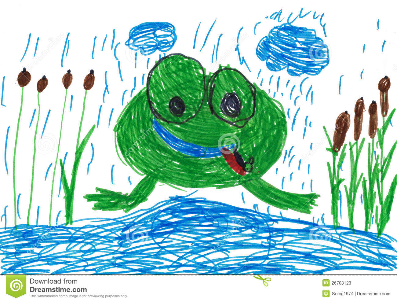 outline drawing of frog jumping out of pot stock illustration