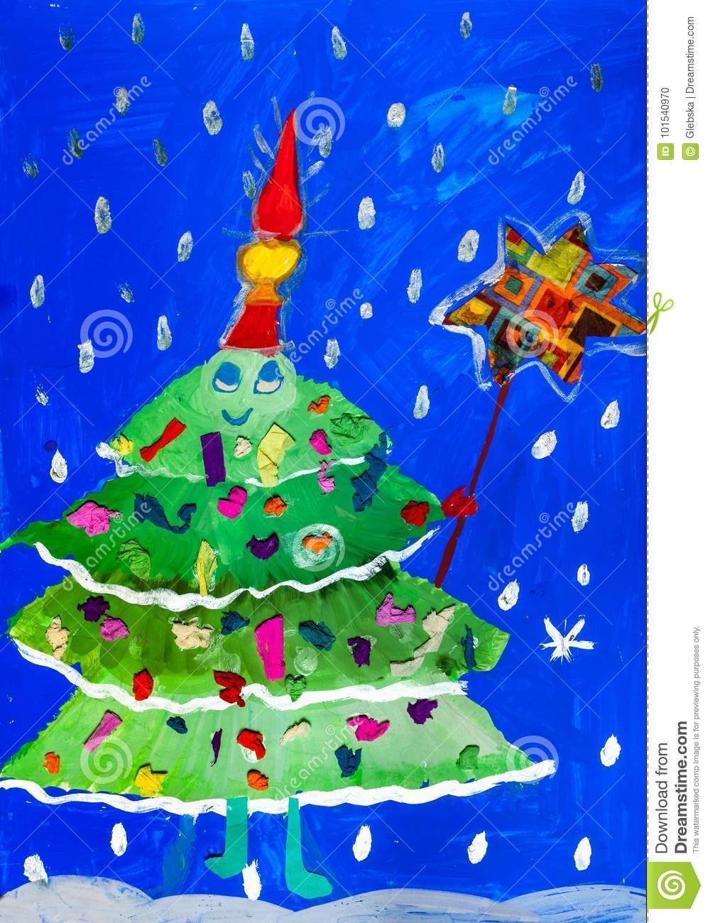 Children S Drawing Green Decorated Christmas Tree Stock
