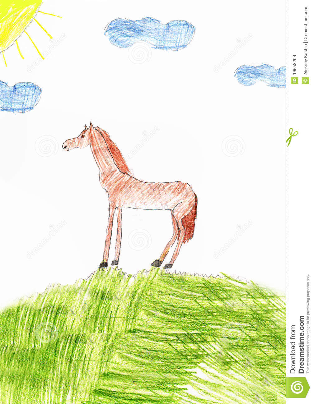 Children S Drawing Of A Horse Stock Illustration Illustration Of Outdoors Landscape 19658204