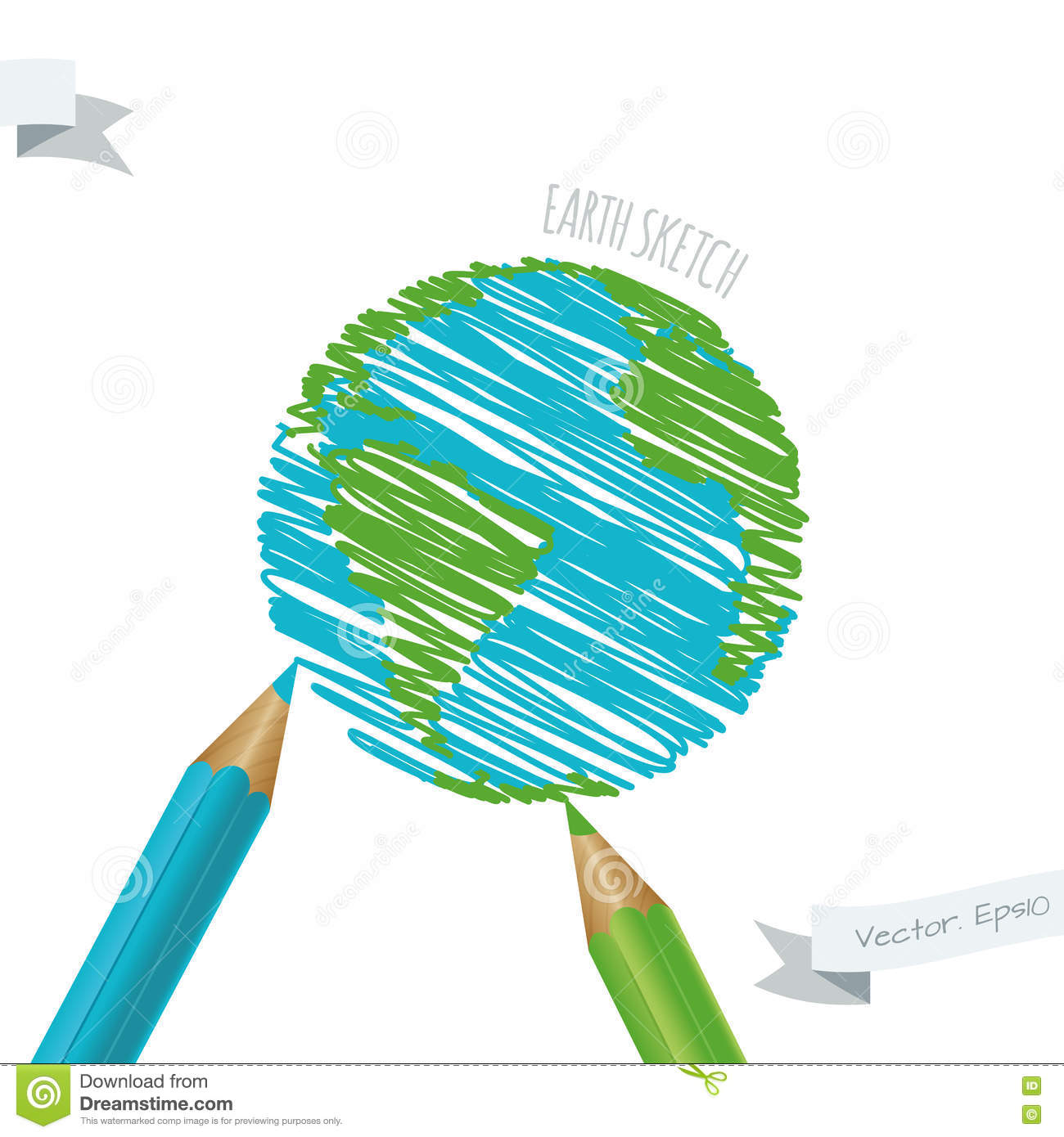 Children's Drawing Of The Planet Earth. Stock Vector ...
