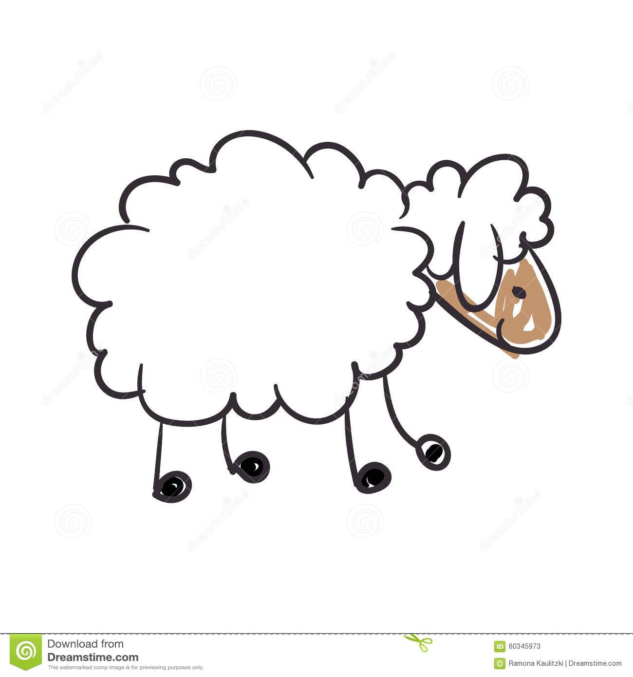 Children's Drawing Of A Sheep Stock Illustration