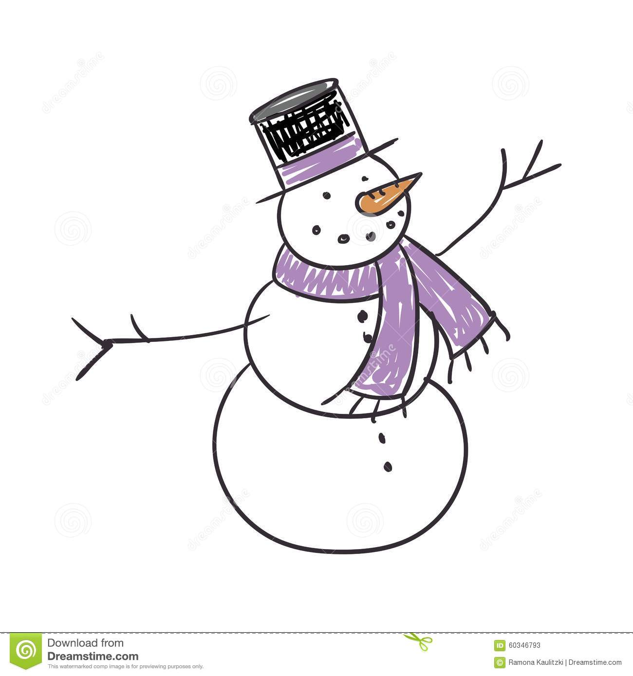 Children s drawing of a snowman stock illustration image 60346793