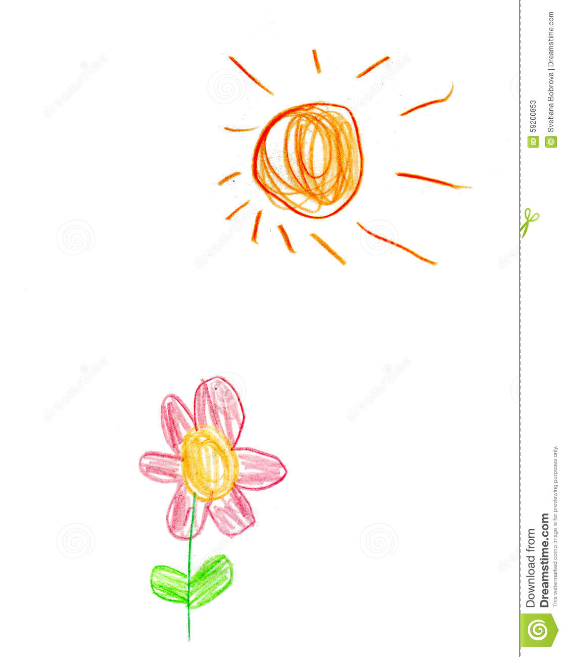 Flower Child Line Drawing : Children s drawing sun and flower stock illustration