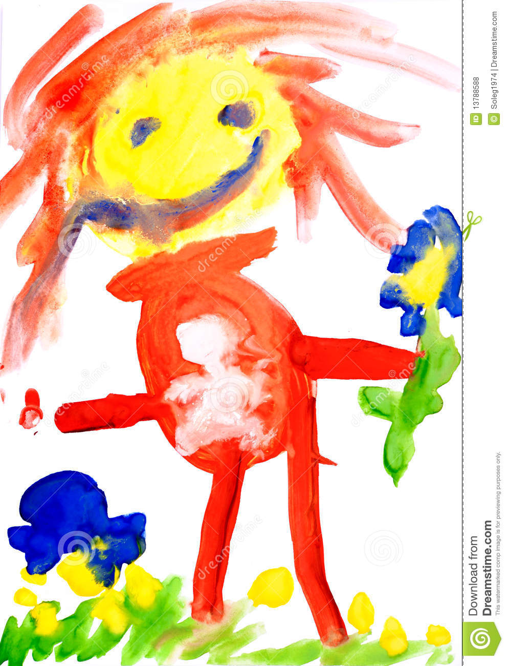 Children S Drawing Water Color Paints Stock Illustration