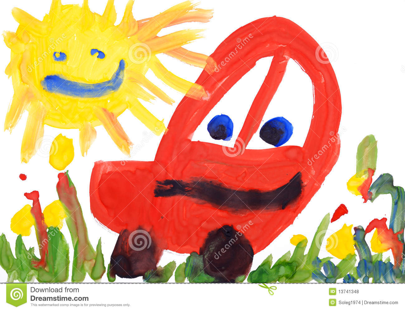 Water Based Car Paint >> Children's Drawing Watercolor. Car And Sun. Royalty Free Stock Photos - Image: 13741348