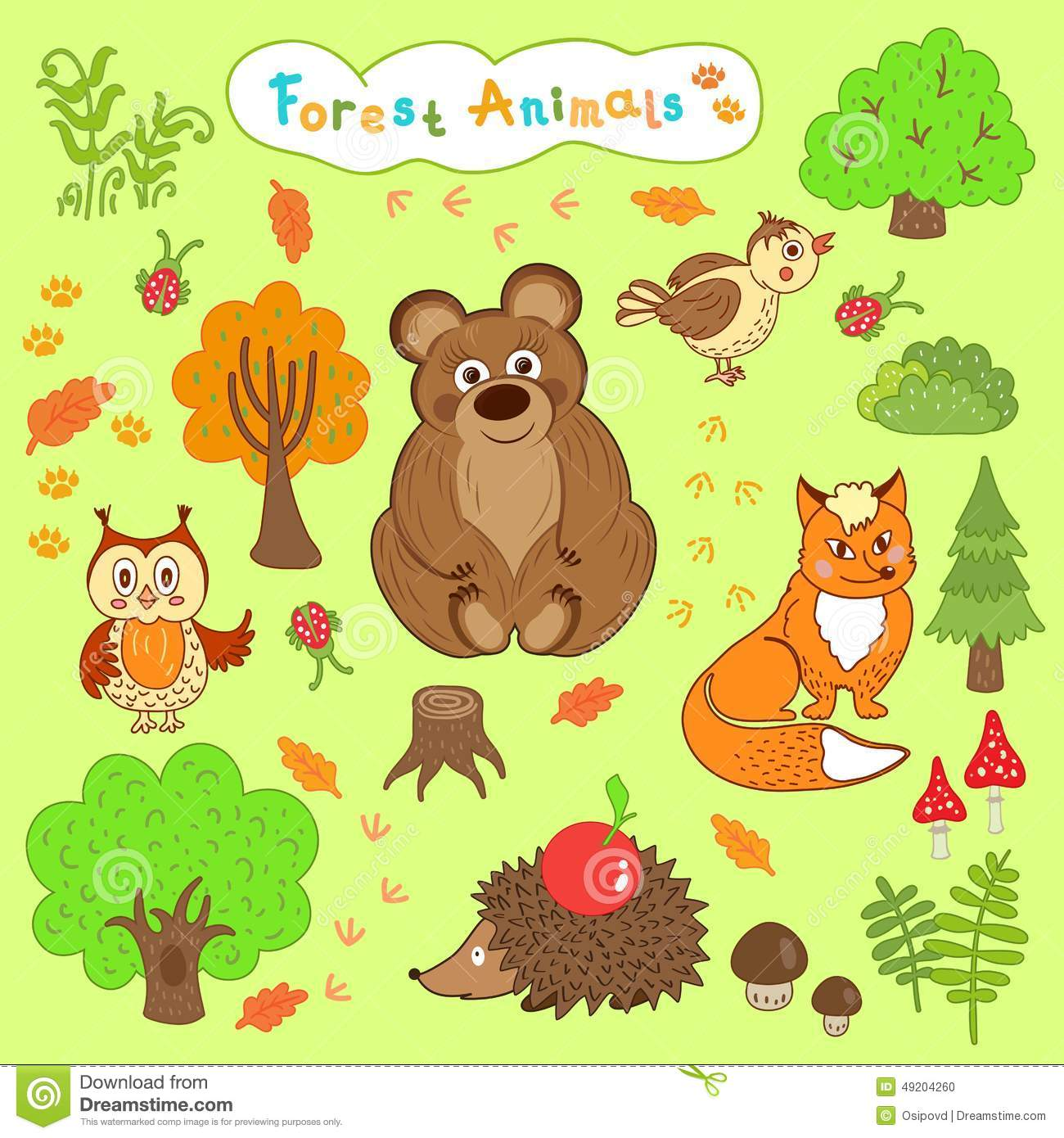 Children's Drawings Of Cute Forest Animals Stock Vector ...