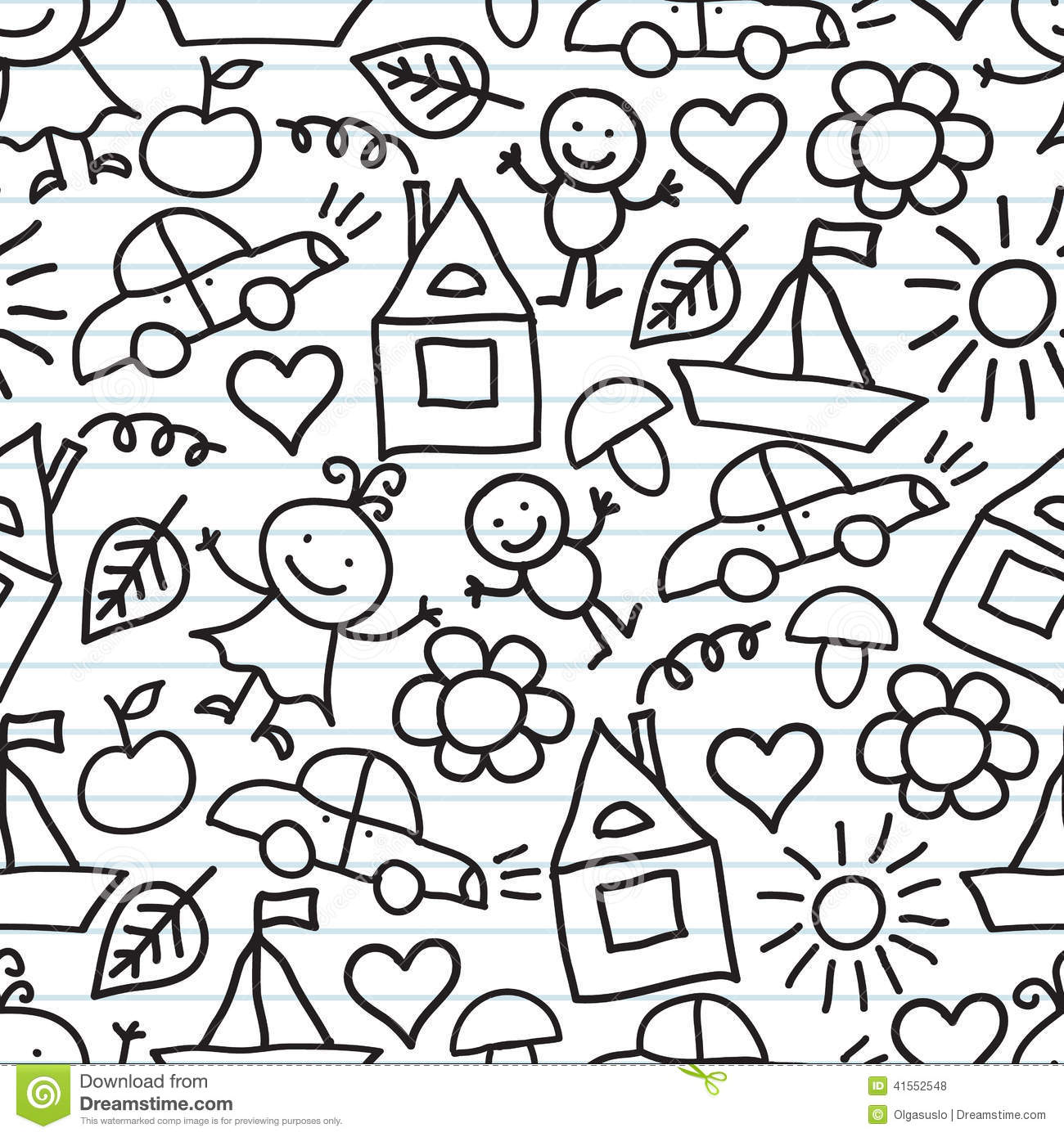 childrens drawings doodle background stock illustration