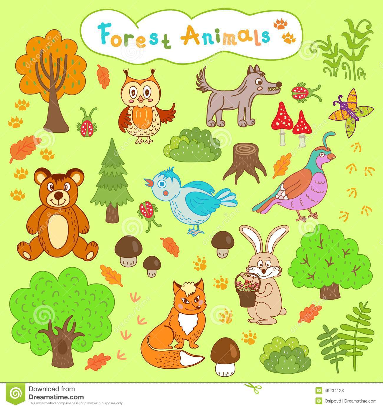 Children's Drawings Forest Animals Stock Vector - Image ...