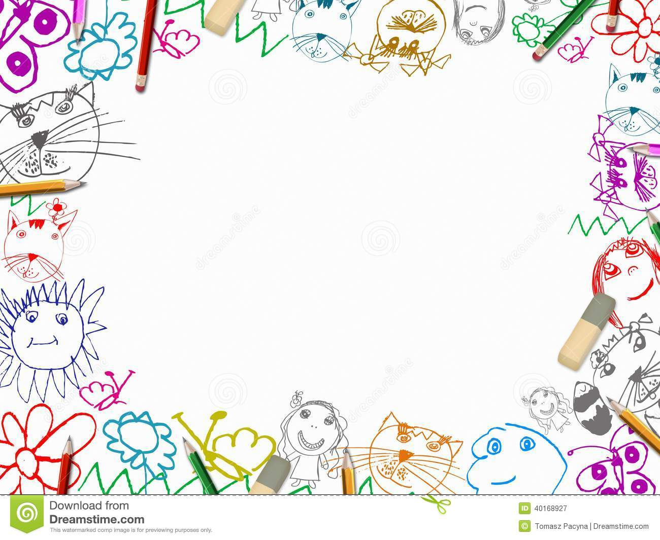 Childrens Drawings With Pencils Frame Background Stock Illustration