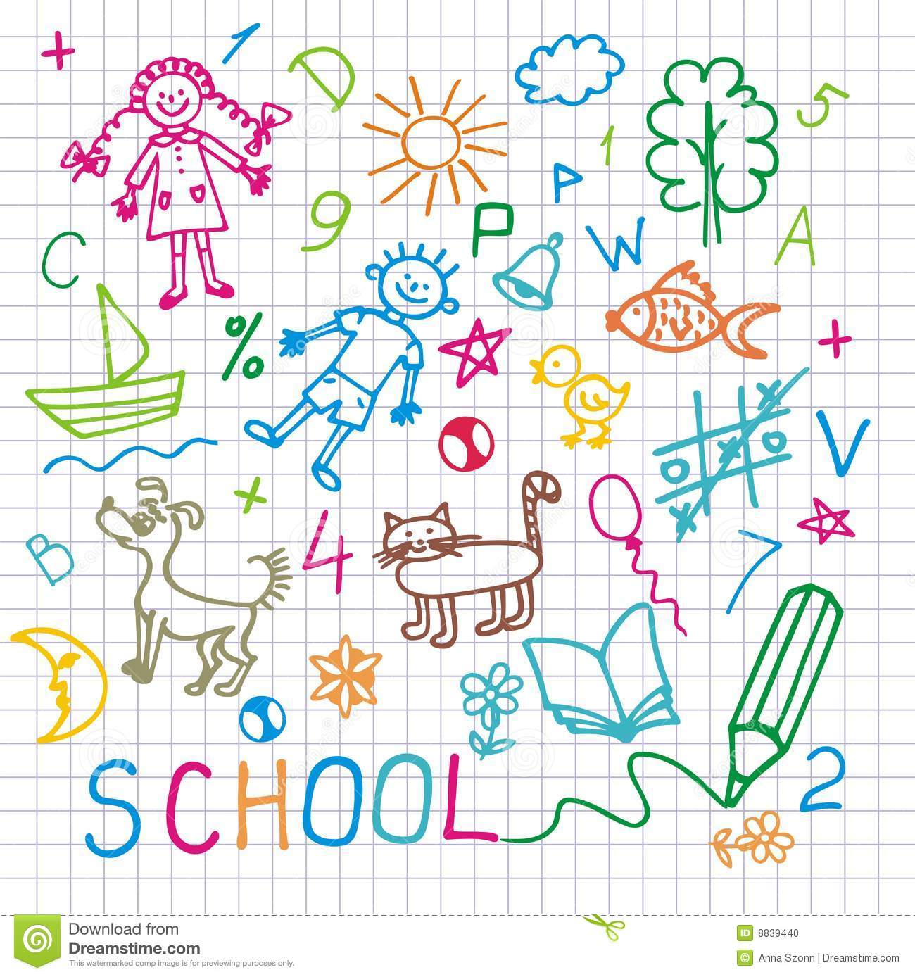 Children s drawings. Vector background.