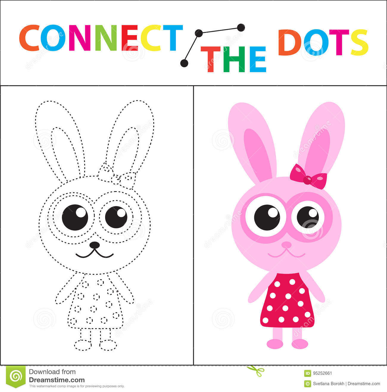 Connect the dots children game cartoon vector for Motor age training connect
