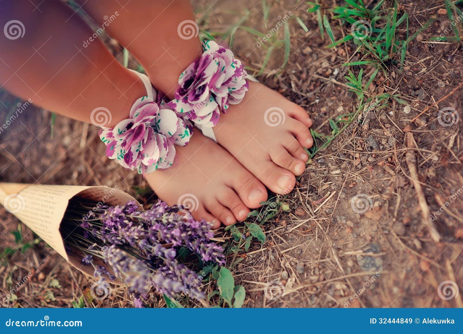 Children S Feet Stock Image Image Of Family Garden