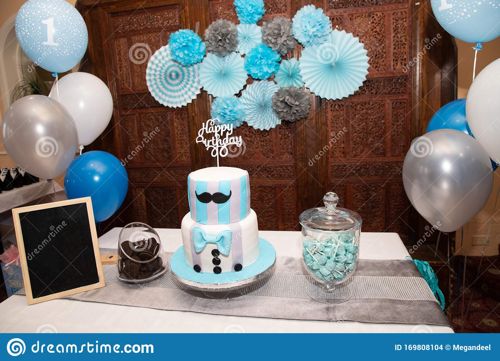 Blue Birthday Cake First Birthday Table Decoration Stock Photo Image Of Paper Setting 169808104