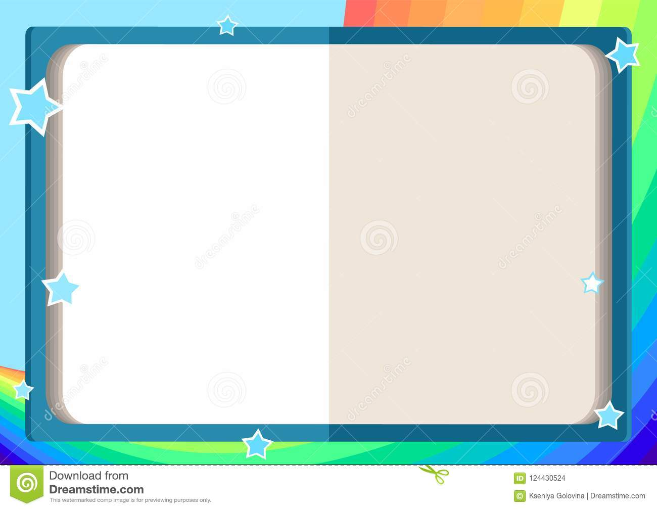 Children`s Frame With An Open Book, Rainbow, Sky And Stars Stock ...