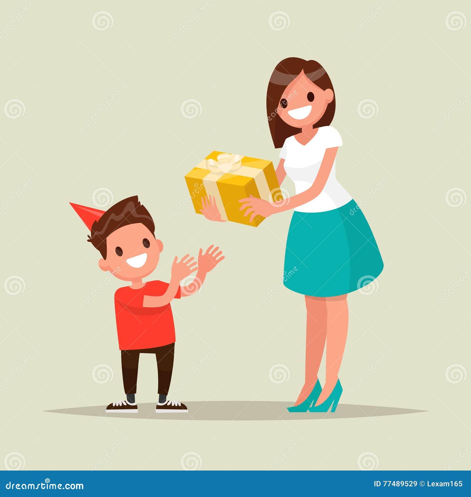 Children X27 S Geburtstag Mutter Gibt Sohn Ein Geburtstagsgeschenk