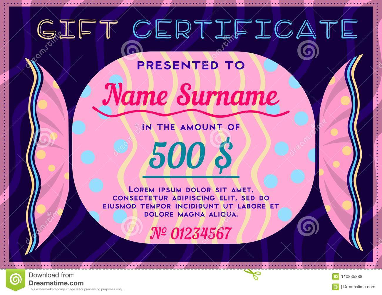 children s gift certificate in the form of candy stock vector
