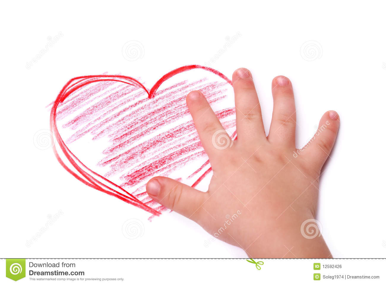 The children s hand is located in heart drawing