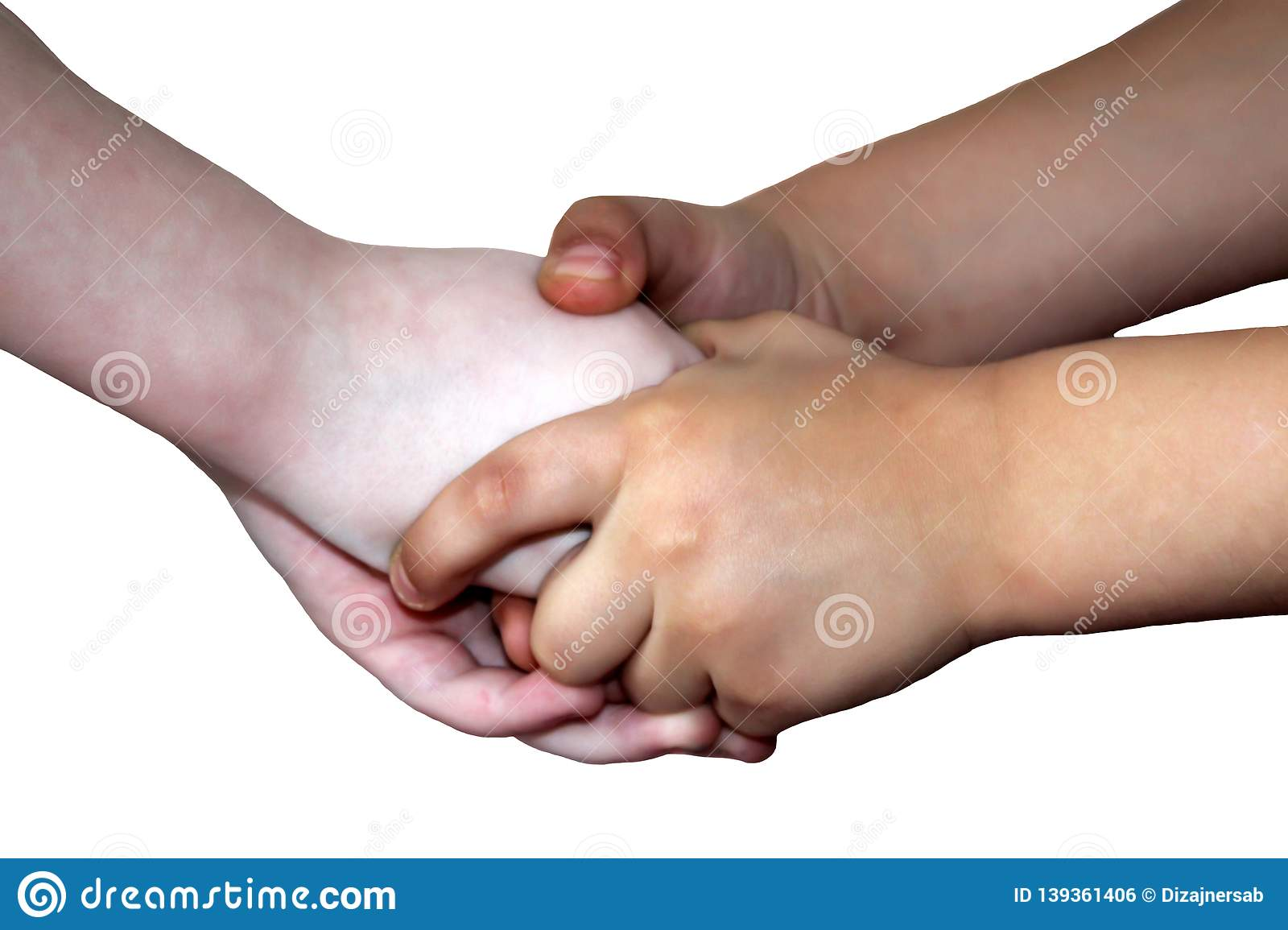 Children`s hands, handshake isolated